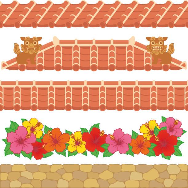 Asian red tiles. Set of Asian red tiles. naha okinawa stock illustrations