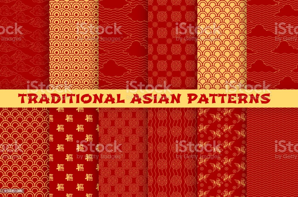 Asian seamless pattern of oriental golden ornament Asian seamless pattern set with oriental traditional ornament. Chinese and japanese golden pattern of hieroglyph, cloud, gold fish and lucky coin on red background for wallpaper or textile design Archival stock vector