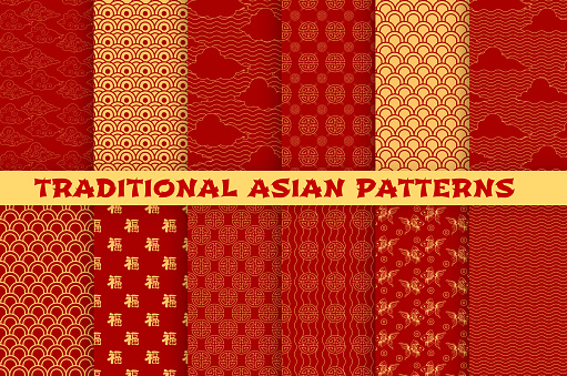 Asian seamless pattern set with oriental traditional ornament. Chinese and japanese golden pattern of hieroglyph, cloud, gold fish and lucky coin on red background for wallpaper or textile design