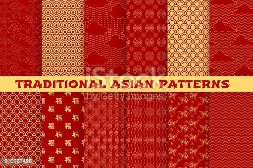 istock Asian seamless pattern of oriental golden ornament 910262486