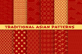 Asian seamless pattern of oriental golden ornament