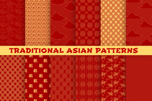 Asian seamless pattern of oriental golden ornament Asian seamless pattern set with oriental traditional ornament. Chinese and japanese golden pattern of hieroglyph, cloud, gold fish and lucky coin on red background for wallpaper or textile design backgrounds symbols stock illustrations