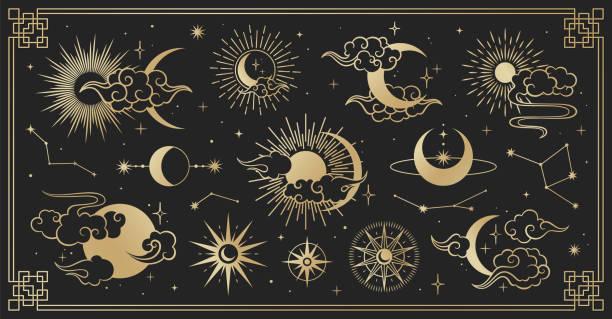 亞洲集雲,月亮,太陽和星星。向量收集在東方中國,日本,韓國風格。線手繪插圖隔離在黑色背景上。復古元素設置。 - 月亮 幅插畫檔、美工圖案、卡通及圖標