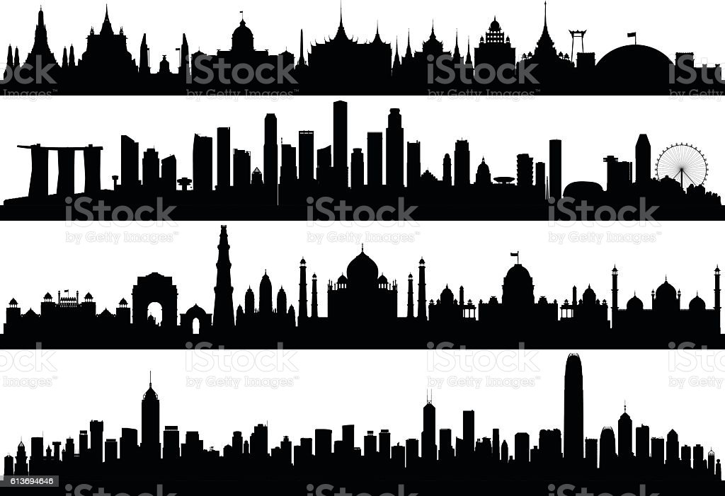 Asian Skylines (All Buildings are Complete, Detailed and Moveable) vector art illustration