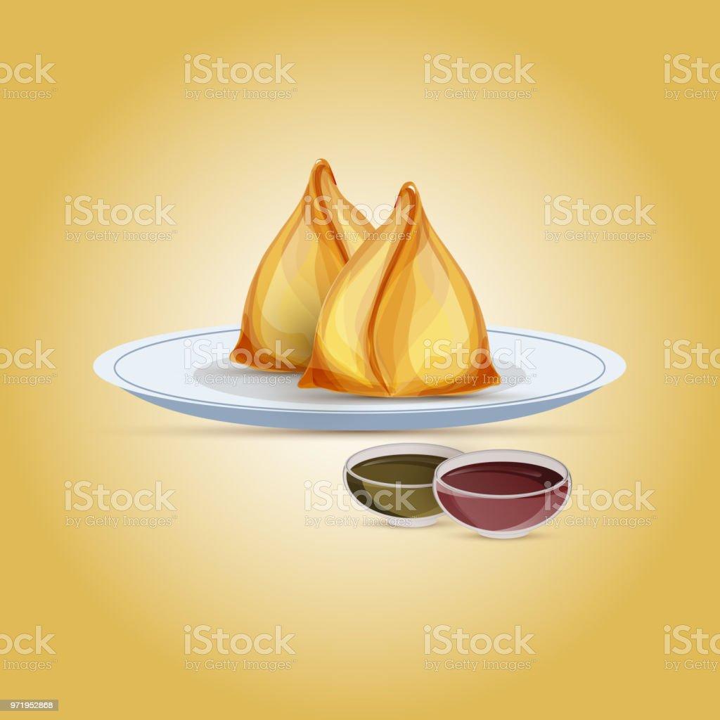 Asie snack, Samosa avec chutney de tomates et le piment. - Illustration vectorielle