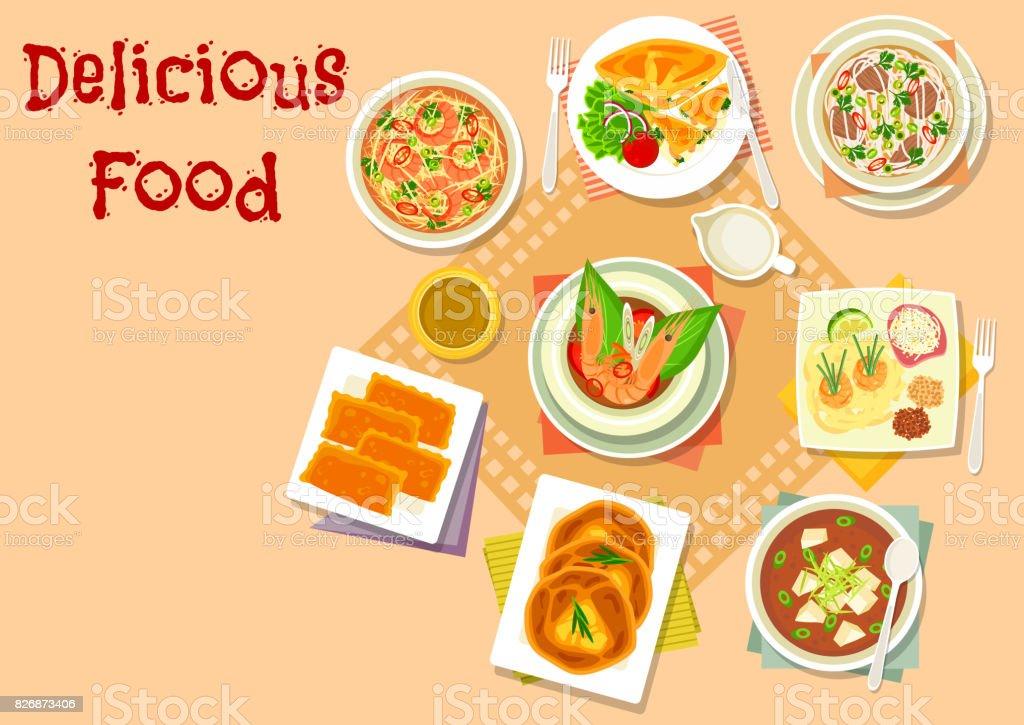 Sopa asiática con icono de pasteles de carne y queso - ilustración de arte vectorial
