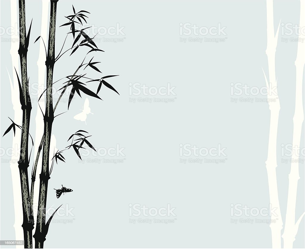 Asian style bamboo print vector art illustration