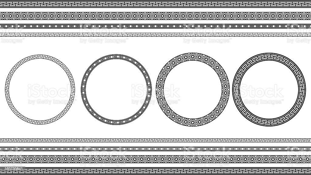 Asian style circle frames and borders vector art illustration