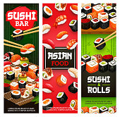 Japanese sushi bar menu banners of maki rolls with fish and seafood in chopsticks. Vector Asian cuisine banners of salmon tempura, California or Philadelphia sushi, unagi eel and gunkan hosomaki