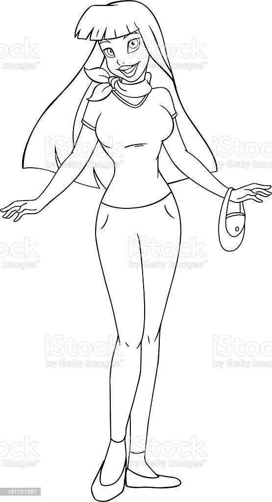 Ilustración de Adolescente Asiática En Una Camiseta Y Pantalones ...