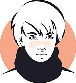 Asian teenager. Vector illustration. The face of a young man