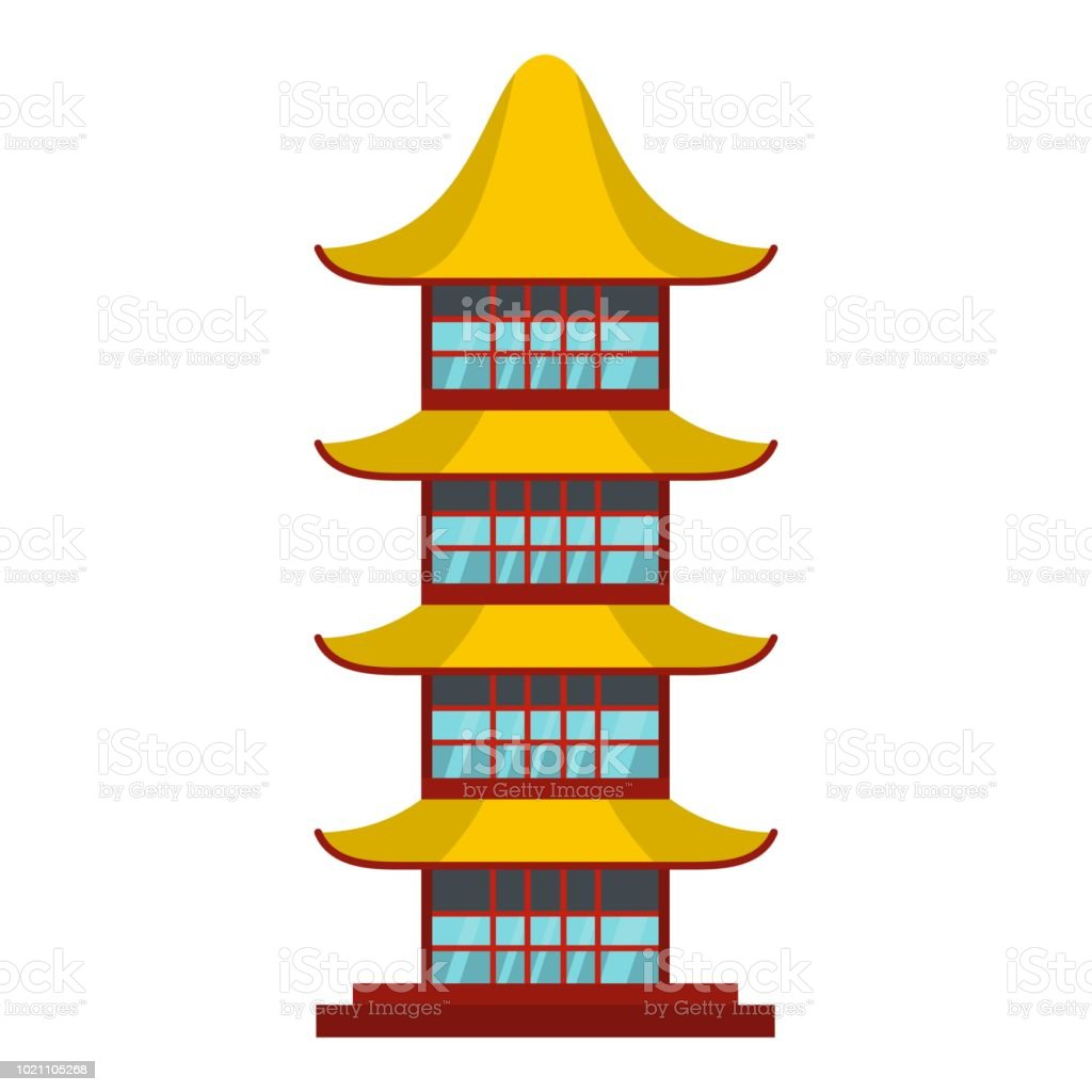 Asian temple icon, flat style vector art illustration