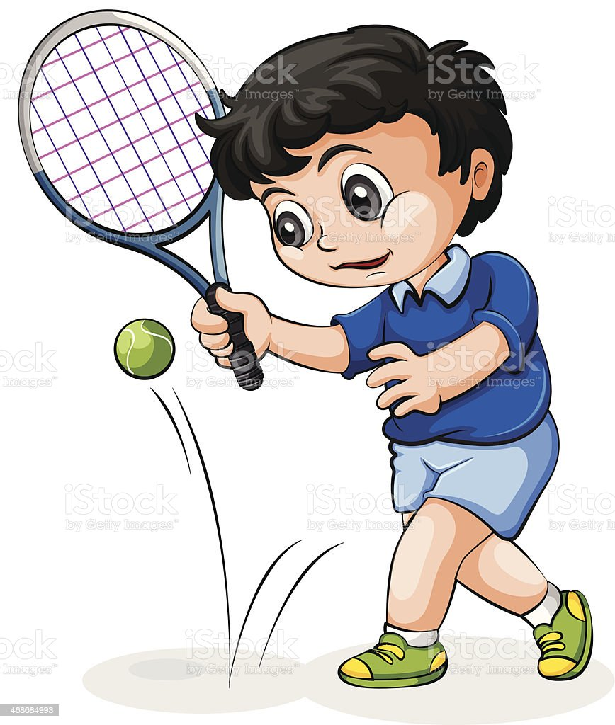 Asian tennis player vector art illustration
