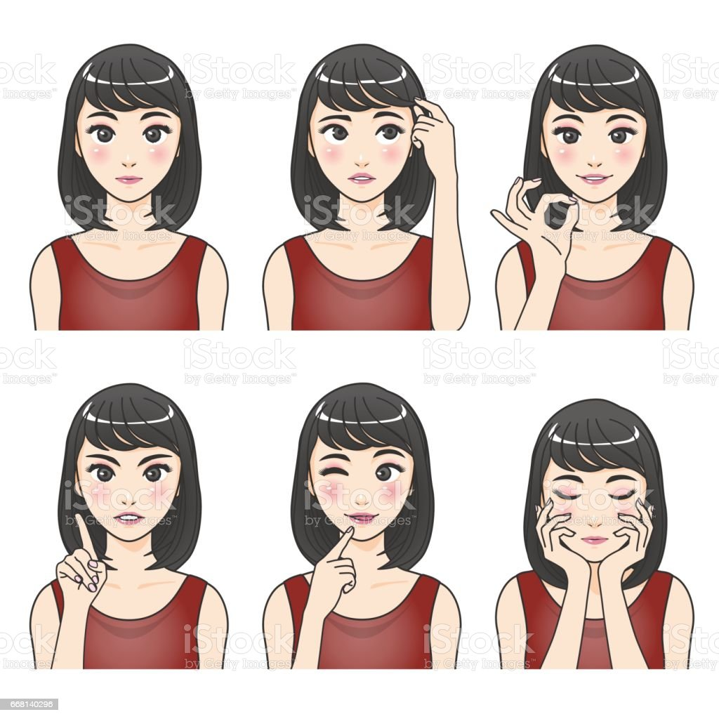 asian woman character set, various pose and expression, cartoon illustration like japanese animation, vector vector art illustration