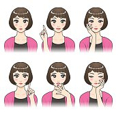 asian woman character set, various pose and expression