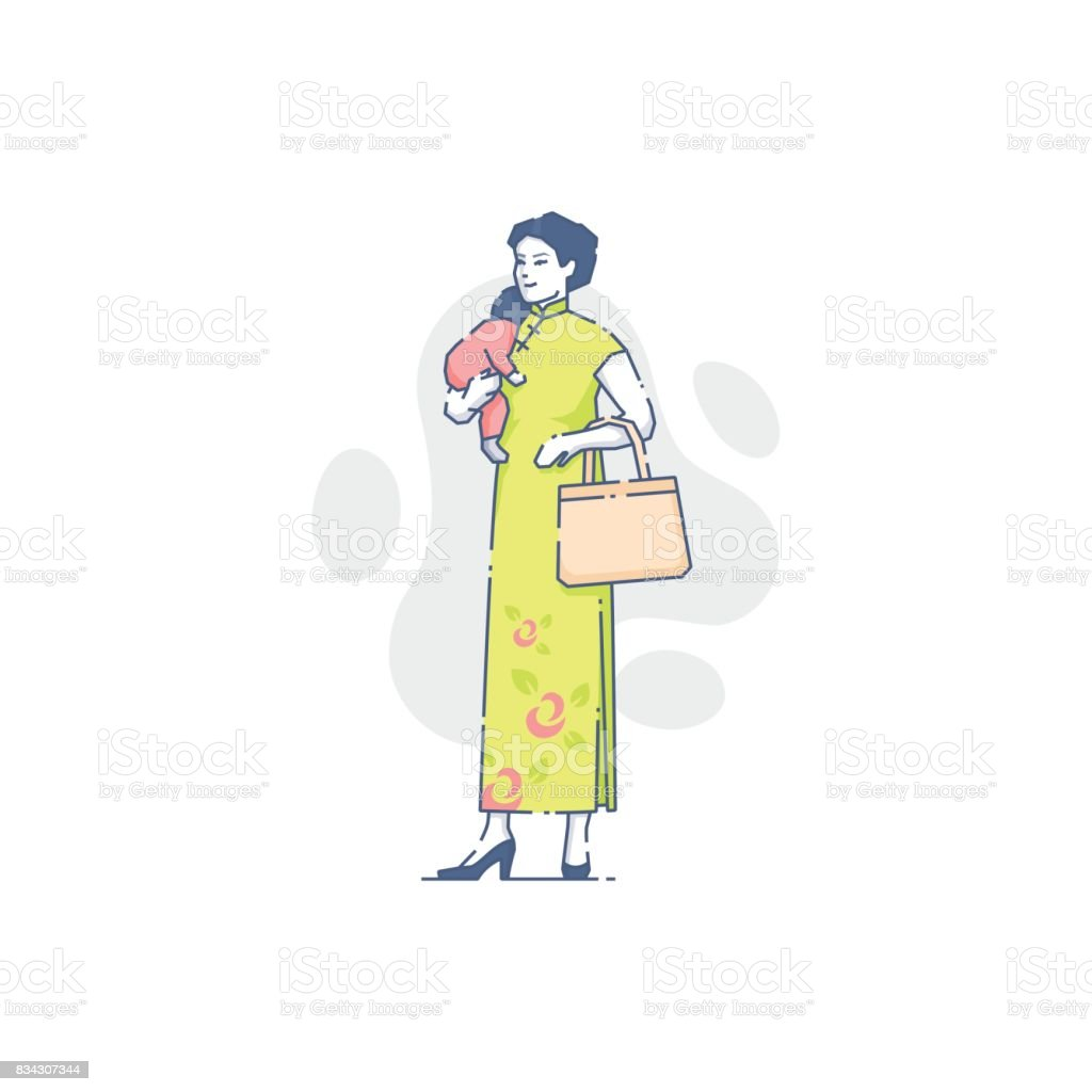 Asian woman with sleeping baby on her hand vector art illustration
