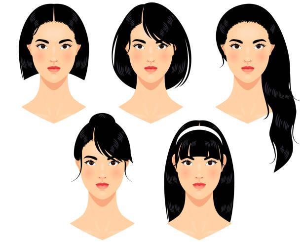 ilustraciones, imágenes clip art, dibujos animados e iconos de stock de asiática mujeres - cabello negro