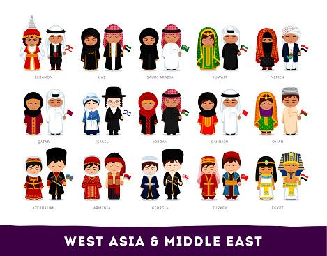 Asians In National Clothes - Stockowe grafiki wektorowe i więcej obrazów Arabia Saudyjska