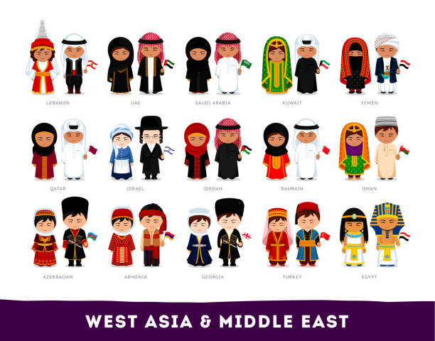 Asians in national clothes. West Asia & Middle East. Set of cartoon characters in traditional costume. Cute people. Vector flat illustrations. azerbaijan stock illustrations
