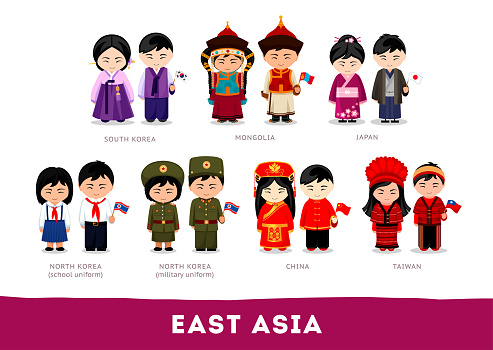 Asians in national clothes.
