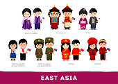East Asia. Set of cartoon characters in traditional costume. Cute people. Vector flat illustrations.
