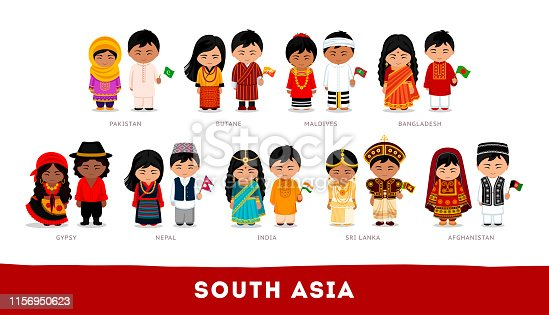 South Asia. Set of cartoon characters in traditional costume. Cute people. Vector flat illustrations.