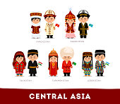 Central Asia. Set of cartoon characters in traditional costume. Cute people. Vector flat illustrations.