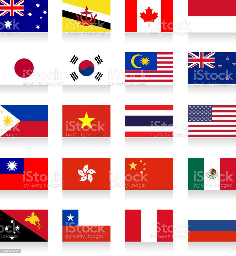 アジア太平洋経済協力(Apec )-Apec -フラッグコレクション ベクターアートイラスト
