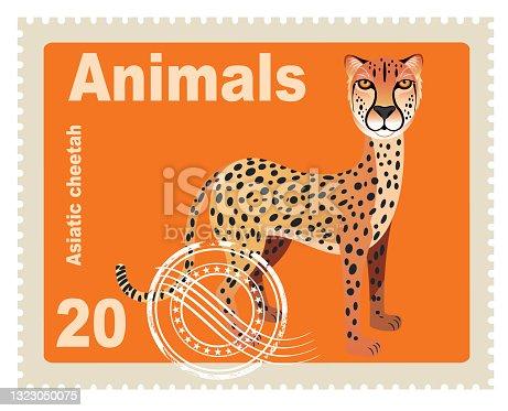 Vector Asiatic Cheetah Stamp