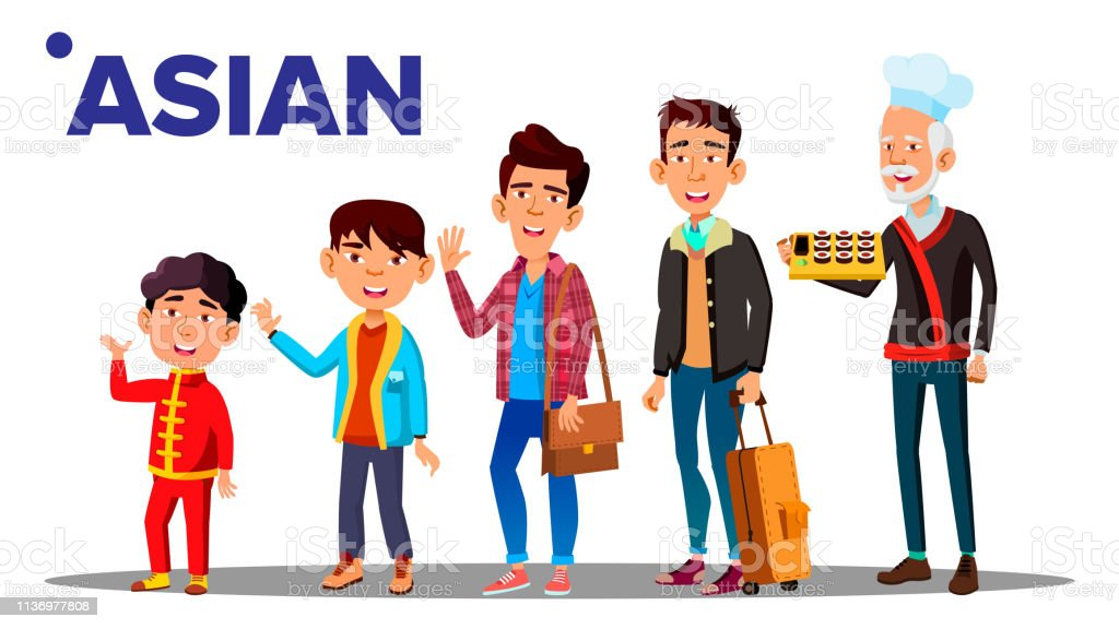 Asiatic Generation Male Set People Person Vector. Asian Grandfather, Father, Son, Grandson, Baby Vector. Vector. Isolated Illustration