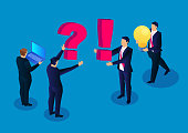 Ask questions and solve problems, a group of businessmen raised new issues, another group of businessmen holding a bright light bulb to solve the problem