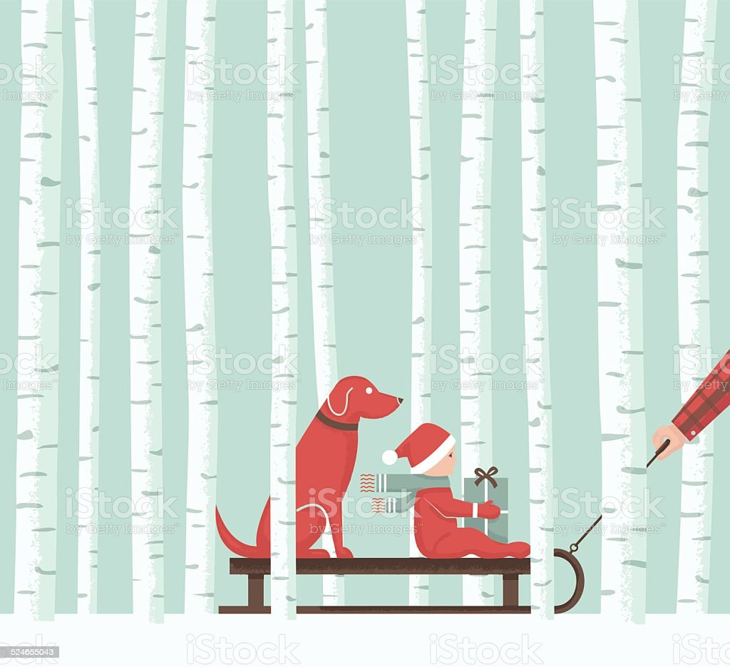 Aspen Christmas Sledding vector art illustration