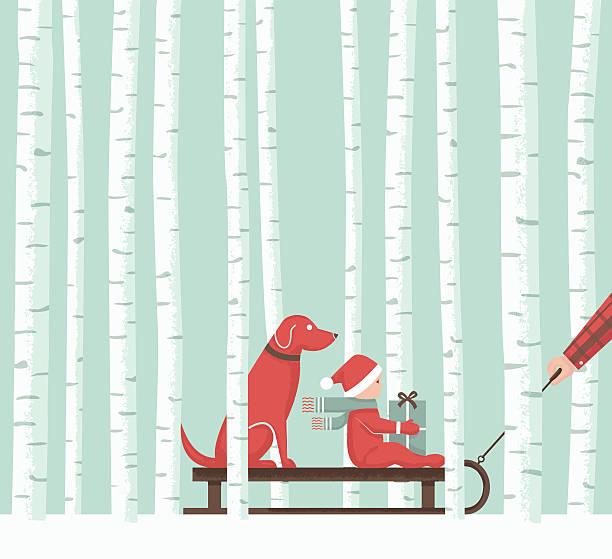 bildbanksillustrationer, clip art samt tecknat material och ikoner med aspen christmas sledding - hund skog