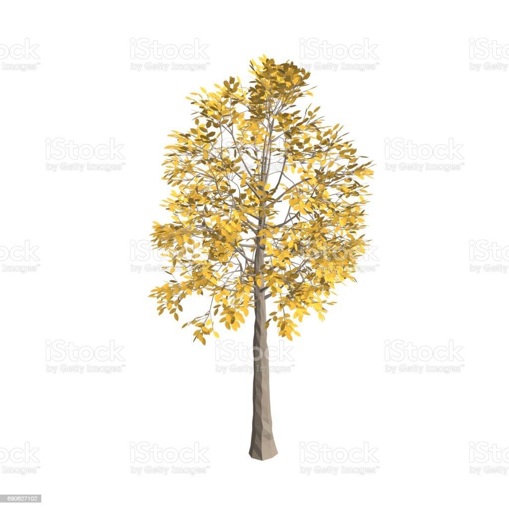 Aspen tree. Isolated on white background. 3d Vector illustration. vector art illustration