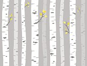 Aspen or birch grove seamless pattern. Tree trunks on gray background, simple vector illustration.