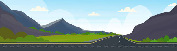 Best Cartoon Road Across Green Forest Hills Mountains Nature Landscape Highway Illustrations