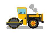 Asphalt Paver, Steamroller Flat Color Illustration