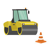 Asphalt paver. Yellow machine and orange cone. Construction work. Road works. Flat editable vector illustration, clip art. Vector cartoon. No people. Industry.