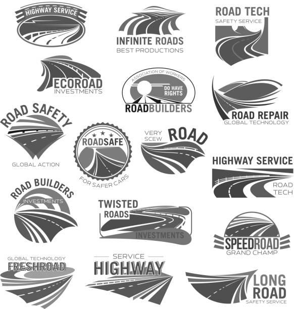 asphalt road, highway and speed freeway symbol set - road trip stock illustrations