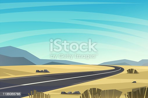 istock Asphalt road passing through the desert vector background. 1135055765