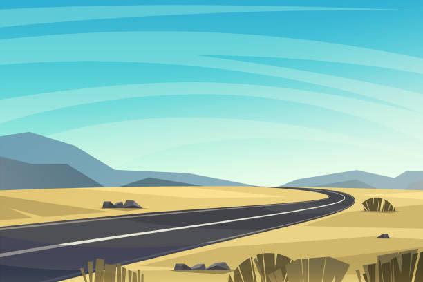 asphaltstraße, die durch den wüstenvektorhintergrund führt. - wüste stock-grafiken, -clipart, -cartoons und -symbole