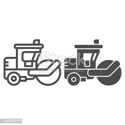 istock Asphalt roller line and solid icon, heavy equipment concept, steamroller truck sign on white background, Road roller icon in outline style for mobile concept and web design. Vector graphics. 1283794375