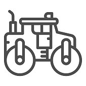 Asphalt roller line icon, heavy equipment concept, steamroller truck sign on white background, Road roller icon in outline style for mobile concept and web design. Vector graphics