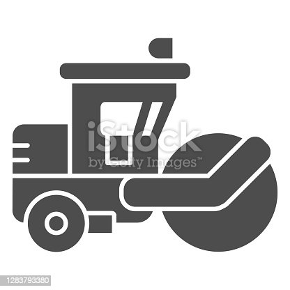 istock Asphalt roller solid icon, heavy equipment concept, steamroller truck sign on white background, Road roller icon in glyph style for mobile concept and web design. Vector graphics. 1283793380
