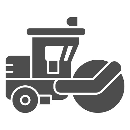 Asphalt roller solid icon, heavy equipment concept, steamroller truck sign on white background, Road roller icon in glyph style for mobile concept and web design. Vector graphics.