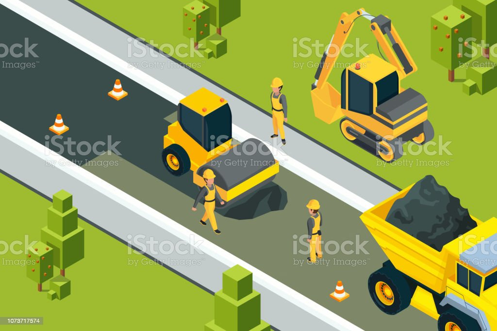 Asphalt street roller. Urban paved road laying safety ground workers builders yellow machines isometric vector landscape vector art illustration