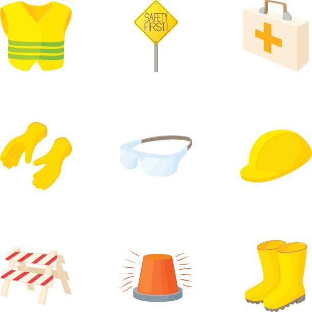 asphalt funktioniert icons set, cartoon-stil - schutzbrille stock-grafiken, -clipart, -cartoons und -symbole