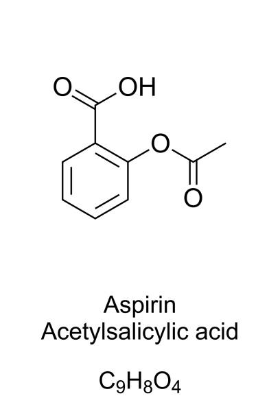 Aspirin, Acetylsalicylic acid, formula and structure Aspirin, formula and molecular structure. Acetylsalicylic acid, ASA. Medication used to reduce pain, fever or inflammation. One of most widely used medications globally. English. Illustration. Vector. aspirin stock illustrations