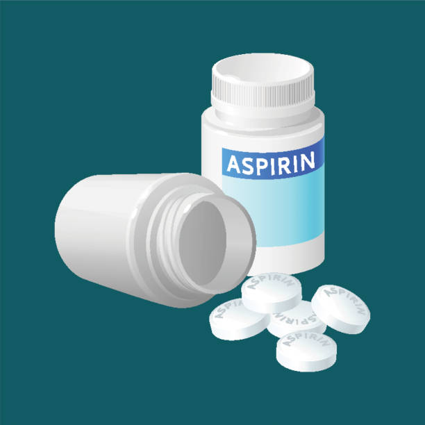 Aspirin pill bottle vector illustration. Medicine remedy in plastic container Aspirin pill bottle vector illustration. Medicine remedy in plastic container. Pharmaceutical medicament painkiller isolated in realistic style. Package for pill capsules. Medical treatment aspirin stock illustrations