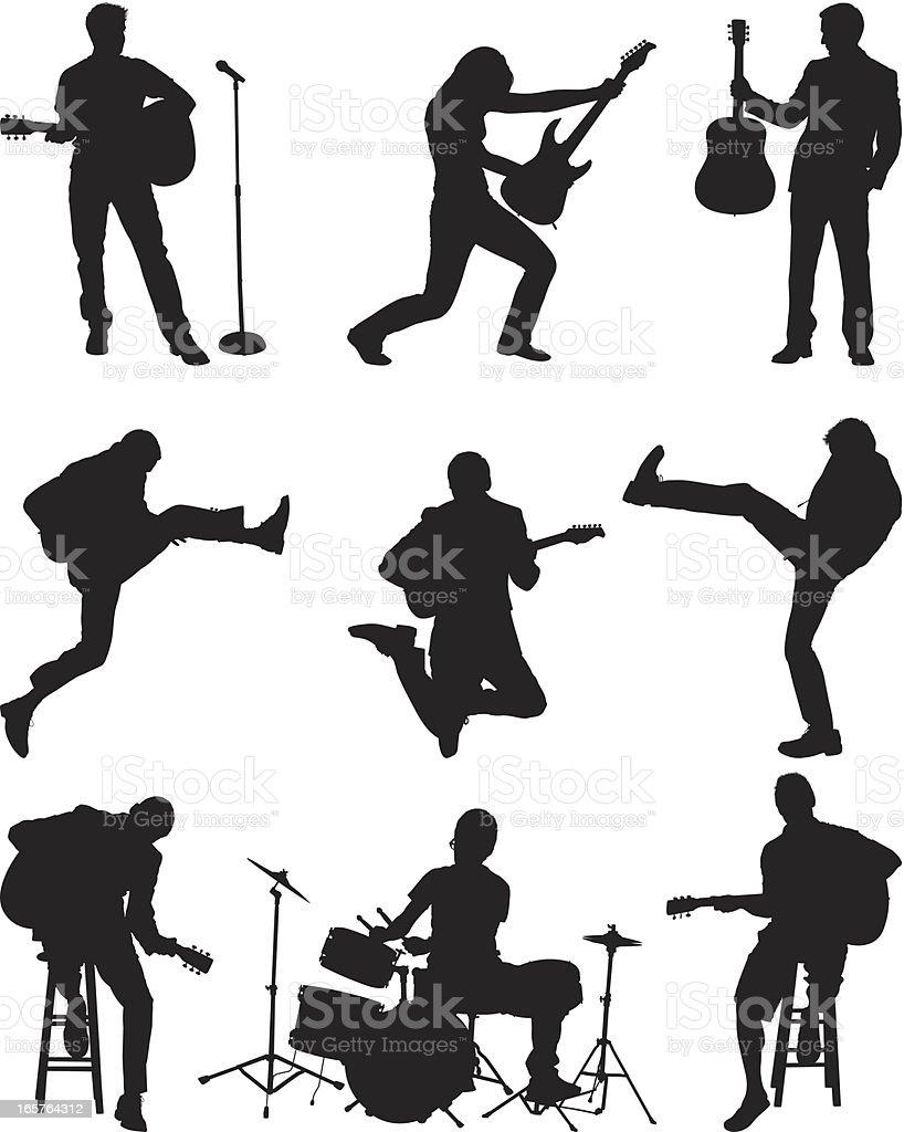 Aspiring rock stars vector art illustration